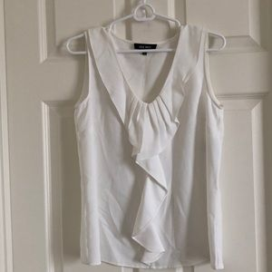 Nine west white blouse with ruffles
